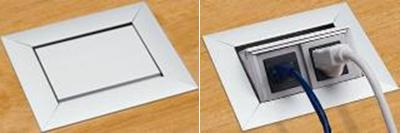 Flip up counter receptacle; open and closed