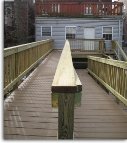 Traditional railing, vertical slats fastened to horizontal boards